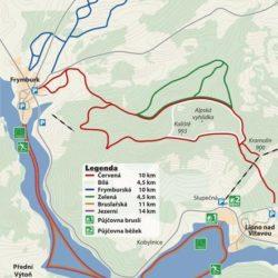 Mapa běžeckých a bruslařských tras